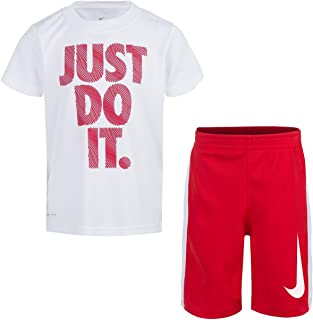 NIKE Toddler Boys' Dri Fit Short Sleeve T-Shirt and Short 2 Piece Set (White (86D621-001)/University Red/Cool Grey, 7)