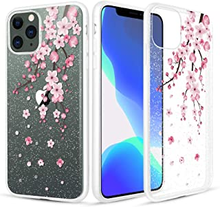 Caka Clear Case for iPhone 11 Pro Max Flower Case Crystal Glitter Clear Pink Floral Flexible Soft Bling Shining Women Girls Slim Case for iPhone 11 Pro Max (6.5 inch)(Cherry Blossom)