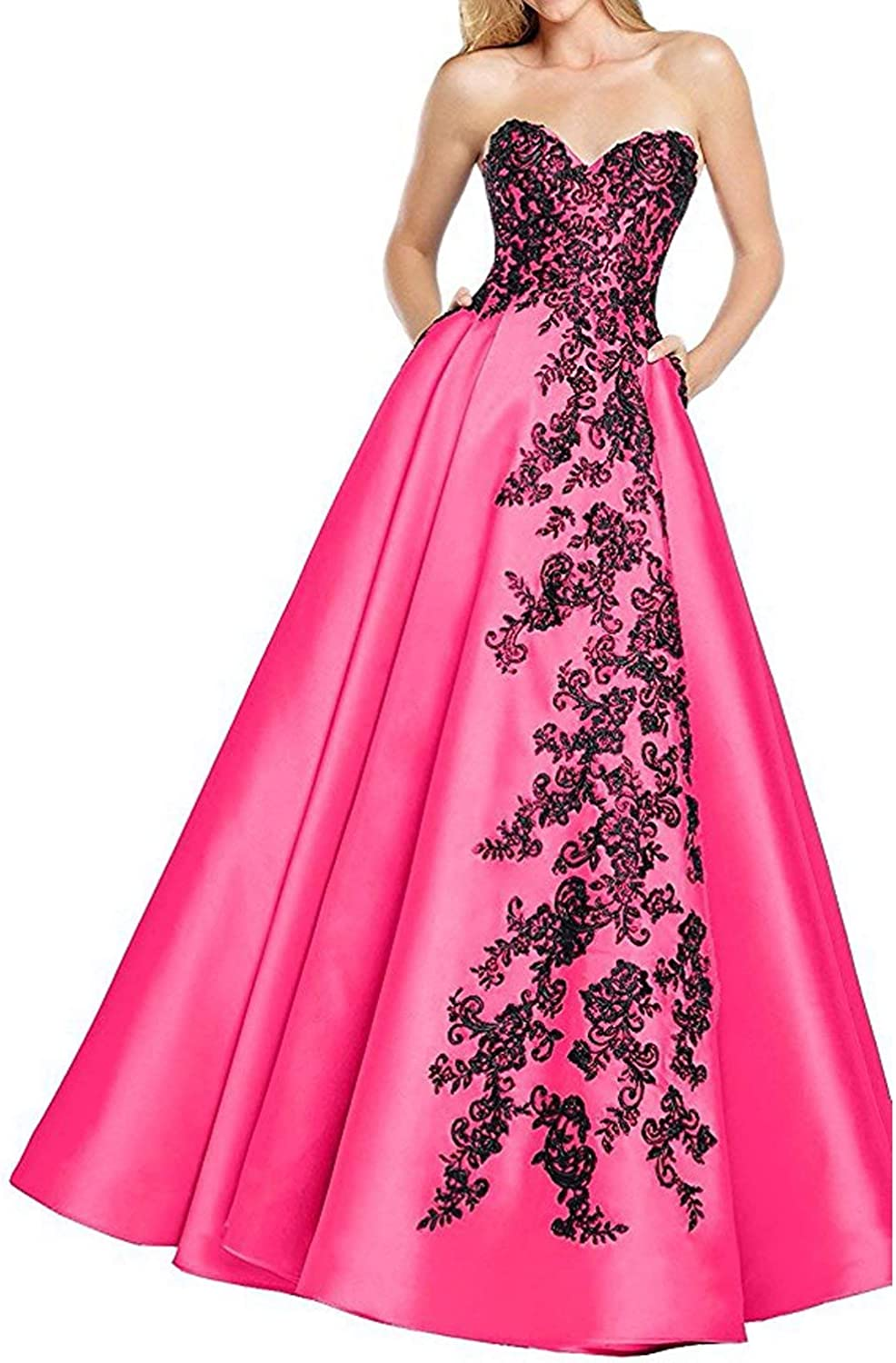 Liyuke Women's Appliqued Prom Dresses Long Lace Beaded Formal Evening Gowns