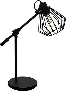 EGLO Lámpara de mesa Tabillano 1, 1 lámpara de mesa vintage, industrial, retro, lámpara de noche de acero, lámpara de salón en negro, lámpara con interruptor, casquillo E27