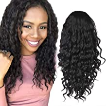 Rinboool Synthetic Lace Front Wigs for Black Women,18'' Long Fashion Curly Natural Looking,Black Hair 1B