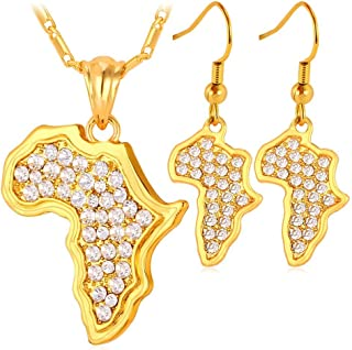 U7 Men Women African Style Jewelry Platinum/18K Gold Plated Rhinestone Crystal/Polished/Arch Map of Africa Pendant Necklace Earrings Set