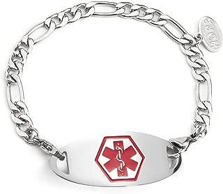 Medical Alert ID Bracelets 6MM Stainless Steel Waterproof Figaro Chain Medical ID tag Women