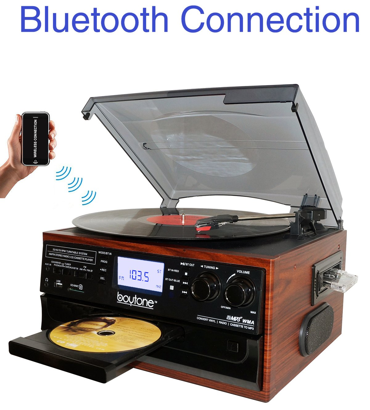 Boytone BT 22M Bluetooth Turntable Cassette