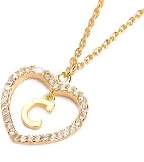 Letter Pendant Necklace A-Z Name Necklace Initial Necklace Women Jewelry Message Card