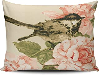 ONGING Decorative Pillowcases Vintage Black White Bird Blush Pink Roses Flowers Customizable Cushion Rectangle Boudoir Size 12x16 inch Throw Pillow Cover Case Hidden Zipper One Side Design Printed