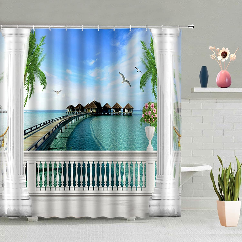 LUOWAN Ocean Gifts Selling Beach Shower Curtains Bathroom for Blue Sky -