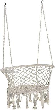Outsunny Chaise Suspendue hamac de Voyage Portable dim. 80L x 60l x 36H m macramé Coton Polyester Beige