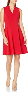 Calvin Klein Women's Petite Sleeveless Fit & Flare with Front Zipper