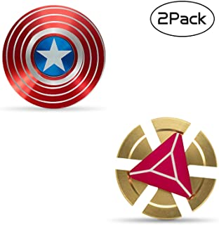 Xstar Captain Shield Marvel Fidget Spinner Hand Spinner Toy Copper Toy Stainless Steel Metal Fidget Toys Fingertip Gyro Stress Relief Cube EDC ADD ADHD Focus Toy Gifts for Kids and Adults(2 Pack)