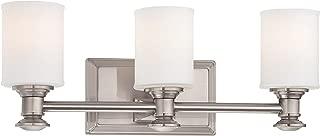 Minka Lavery Wall Light Fixtures 5173-84 Harbour Point Glass Bath Vanity Lighting, 3 Light, Nickel