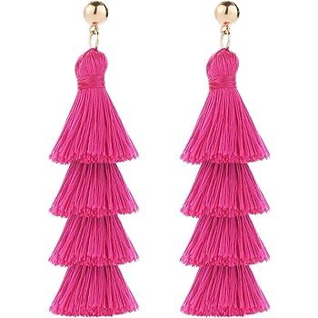 BaubleStar Tassel Earrings Handmade Tiered Thread Tassel Dangle Earrings, Multi Colors