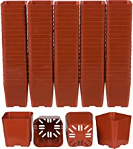 100 Pack of 2 Inch Square Plastic Flower Pots with Labels for Starting Seedlings, or Succulents (100, Terracotta)