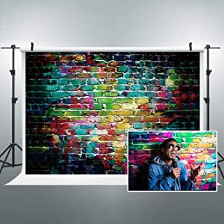 Riyidecor Graffiti Colorful Brick Backdrop Hip Hop Painting Fabric Polyester Cloth Photography Background Colorful Street Artistic 7Wx5H Feet Decoration Celebration Props Party Photo Shoot