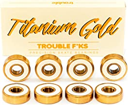 Trouble Titanium Bearings Skateboard Longboard Skate Bearing Gold Set (TB3)