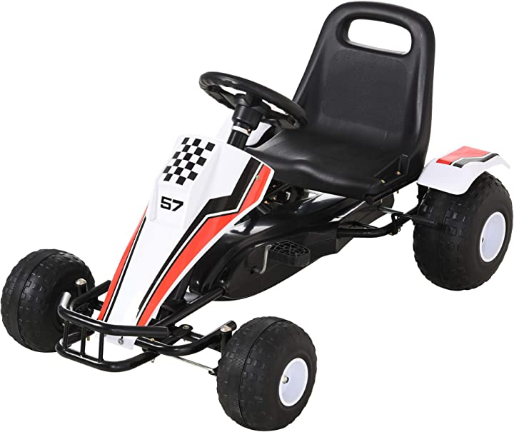 Go-kart a pedali bianco per bambini 3-8 anni con sedile regolabile homcom IT341-0360631