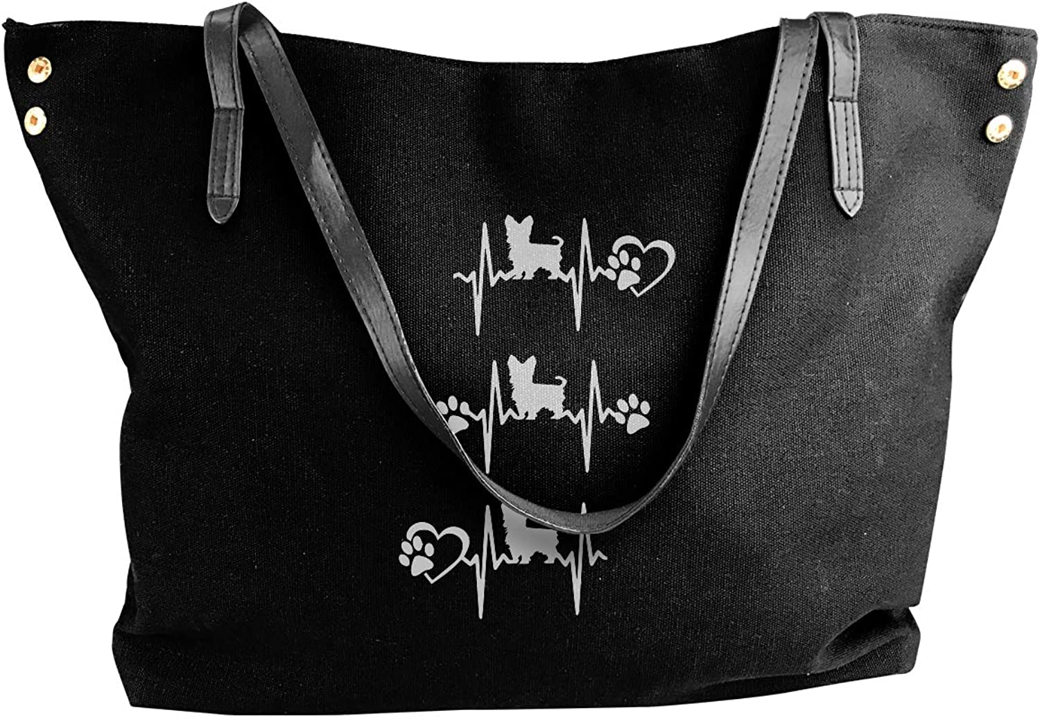 Cute Yorkie Heartbeat-1 Women'S Leisure Canvas Sling Bag For Work Shoulder Tote