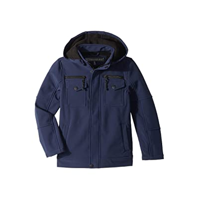 Urban Republic Kids Karl Softshell Officers Jacket w/ Zip Off Hood (Little Kids/Big Kids) (Navy) Boy