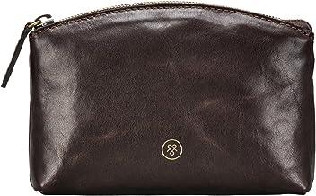 Maxwell Scott Personalized Luxury Italian Leather Cosmetic Bag - Chia Brown