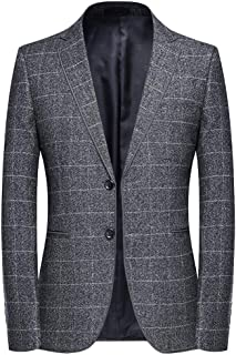 YOUTHUP Mens Check Blazer Slim Fit 2 Button Suit Jacket Formal Business Plaid Blazers
