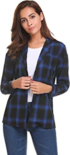 Women's Roll Up Sleeve Casual Loose Boyfriend Plaid Button Down Shirt