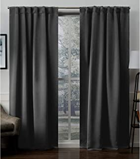 Exclusive Home Sateen Blackout Hidden Tab Curtain Panel Pair, Charcoal, 52x96, 2 Piece