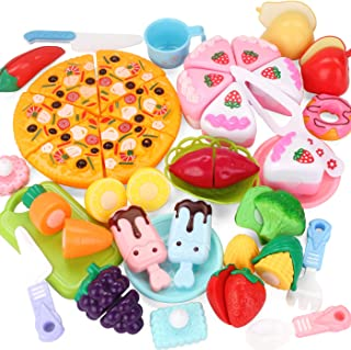 Fun-Here Play Kitchen Food Toy Set Kids Cutting Market Cooking Educational Leaning Cake Pizza Fruit Vegetables Ice Cream Pretend Playset Party Favor Supplies for Boys Girls