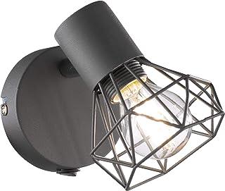 Fischer & Honsel 32470 Spot mural 1 ampoule E14 max. 40 W Gris mat/chromé avec interrupteur 13,5 x 8 x 16 cm
