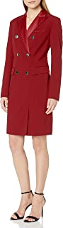 Anne Klein Women's Long Sleeve Tuxedo Dress, Titian RED