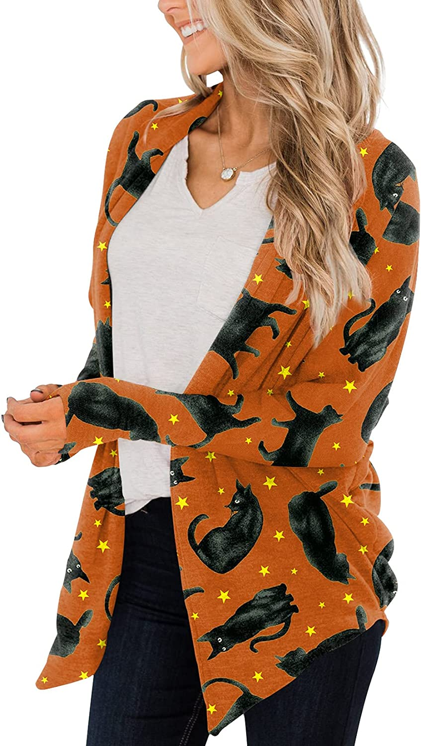 For G and PL Women's Halloween Long Sleeve Open Front Cardigan