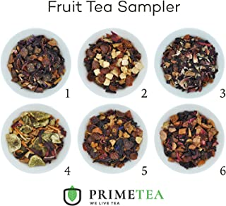 REAL FRUIT TEA SAMPLERS - 6 Ounce Total ≈ 90 Servings - Delicious Vegan All Natural Flavors Assortment of Loose Leaf Tea - Hot or Iced - No Artificial Flavors by Prime Tea (Perfect Fruit Tea #1)