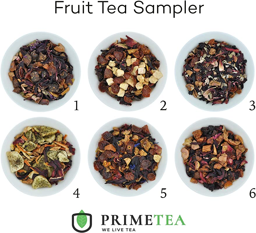 REAL FRUIT TEA SAMPLERS 6 Ounce Total 90 Servings Delicious Vegan All Natural Flavors Assortment Of Loose Leaf Tea Hot Or Iced No Artificial Flavors By Prime Tea Perfect Fruit Tea 1
