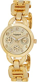 Akribos XXIV Women's Crystal Multifunction Military Time Watch - Sunburst Guilloche Dial with Date and Day Subdials - Link...