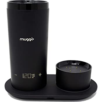 Muggo 12 oz Temperature Control Mug with 3 hour Battery Life, Tea, Coffee, Hot Beverage Warmer, Heated Travel Mug with Dual Charger