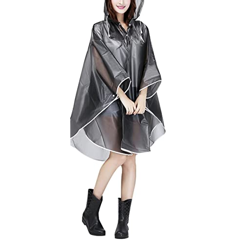 98e344d68c84 Women Packable Clear Hooded Raincoat Lightweight Travel Rain Cape Jacket  Poncho