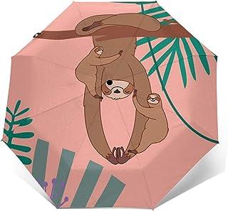 Funny Sloth Pattern Automatic Folding Umbrella Sunshade Tri-fold Rain Umbrella