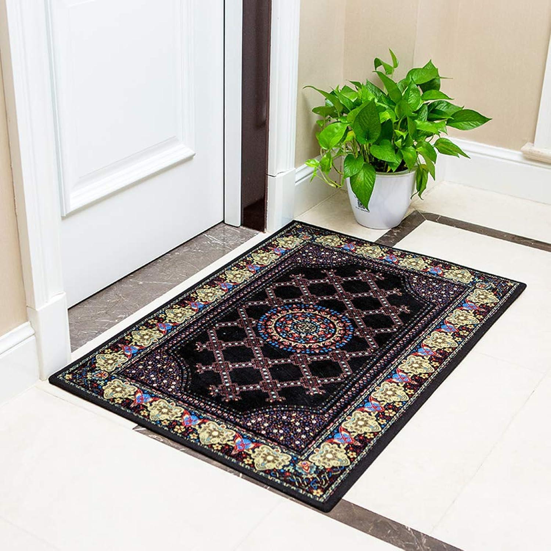 Doormat,Entrance Doormat Blanket for Bedroom Anti-skidding Waterproof Durable-Black 60x90cm(24x35inch)