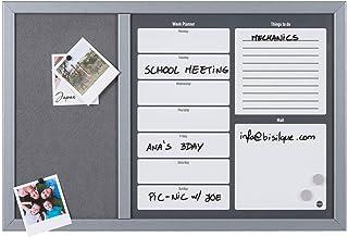 Bi-Office - Organizador Semanal Combinado, 60 x 40 cm, Pizarra de Planificación Semanal Magnetica Blanca y Tablón de Anúncios de Fieltro Gris con Marco MDF Gris