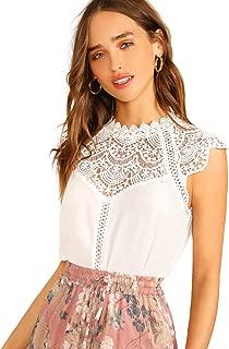 Women's Elegant Cap Sleeve Keyhole Contrast Lace Blouses Tops