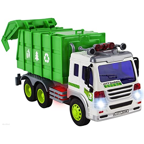 69af54d14e382 WolVol Friction Powered Garbage Truck Toy With Lights and Sounds For Kids  (Can Open Back
