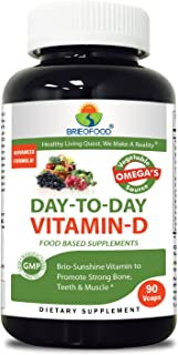 Brieofood Vitamin D 90 Vcaps, Food Based Daily Vitamin D3 5000 IU Supplement Made with Vegetable Source Omegas, probiotics and Herbal Blends