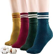 Sandiorsox Women Cotton Socks,Organic Cotton,Suitable for Different Color Shoes,4 Pairs