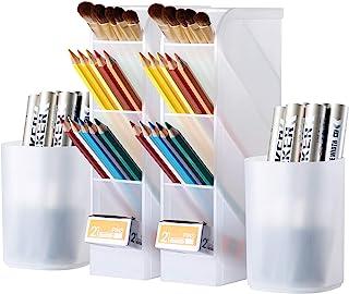 4 Pcs Desk Organizer, Wellerly Pen/Pencil Markers Holder Storage Box Desk Organizer Multi-Functional for Office School Hom...