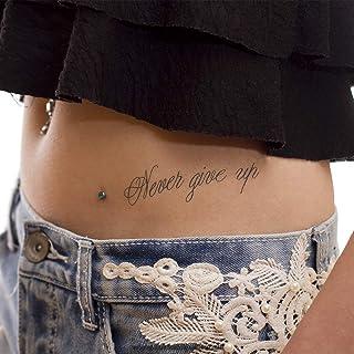 5 x Never give up Tattoo Schriftzug in schwarz - Temporary H