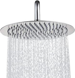 Topmail 12 Inch Round Fixed Shower Head Rainfall 304 Stainless Steel High Pressure Top Spray Overhead Bathroom Rainfall Showerhead