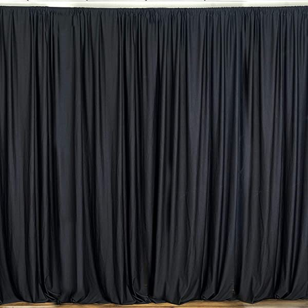 New Creations Fabric Foam 10 Feet Wide By 10 Feet High Seamless Polyester Backdrop Drapes Curtains Panel Black