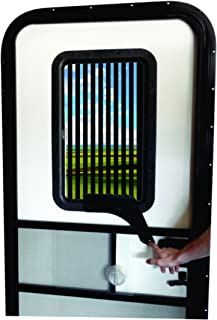 RV Door Window CloZures Shade, Controls Sun Glare, Privacy, Outside View by Moving fingertip Lever, Without Opening Screen Door. Kit Includes Clear Glass to Replace Frosted Glass. (Room Darkening)