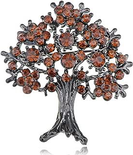 Alilang Gunmetal Gun Metal Tone Orange Red Topaz Colored Rhinestones Apple Fruit Floral Tree Brooch Pin
