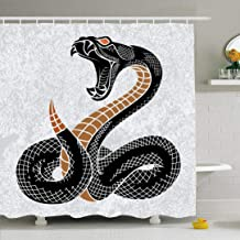 Ahawoso Shower Curtain Set with Hooks 66x72 Drawing Serpent Viper Ink Hipster Nature Snake Mascot Graphic Deadly Bite Hand Drawn Vintage Rock Waterproof Polyester Fabric Bath Decor for Bathroom