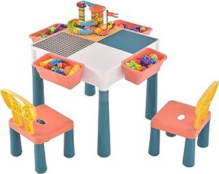 Ensemble de Table Sararoom et 2 chaises pour Enfants Table de Blocs pour Enfants Table d'activités Polyvalente avec Grands...